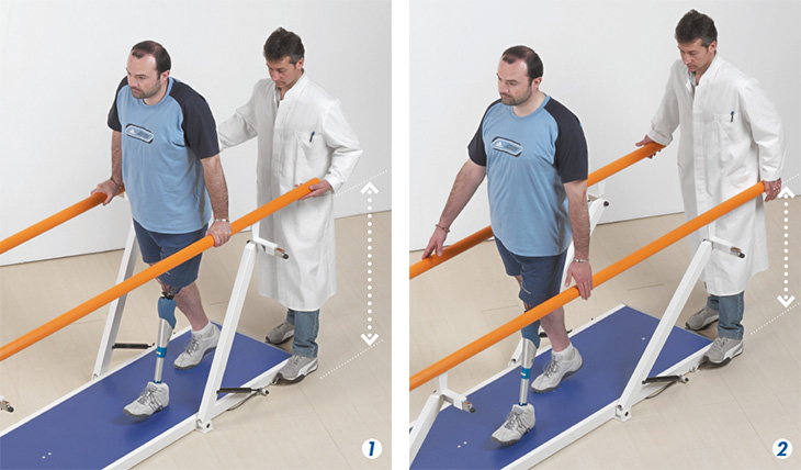 adjusting the parallel bars height supporting locomotion and rehabilitation activity